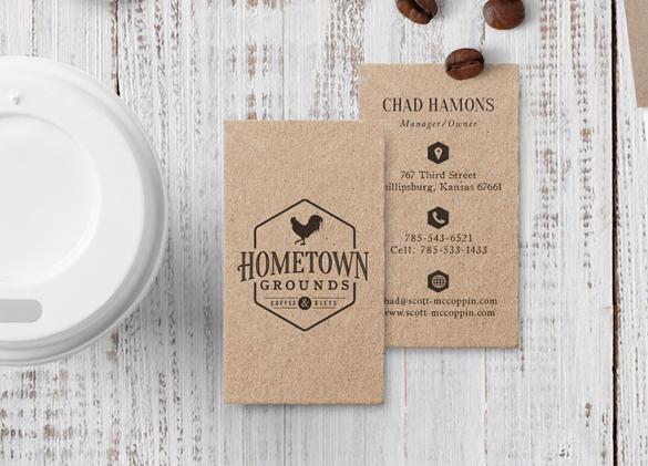 Business Card Design for Hometown Grounds Coffee & Gifts