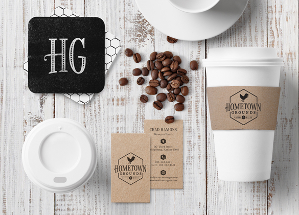 Identity Design for Hometown Grounds Coffee & Gifts