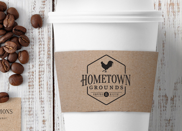 Logo Design for Hometown Grounds Coffee & Gifts