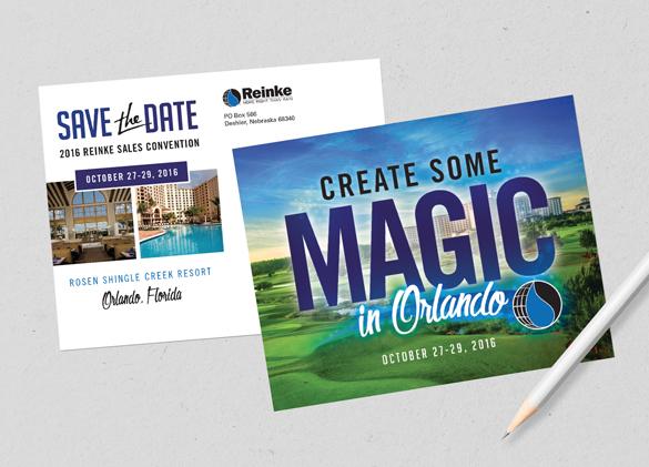 Save the Date Postcard Design for Reinke Irrigation Company
