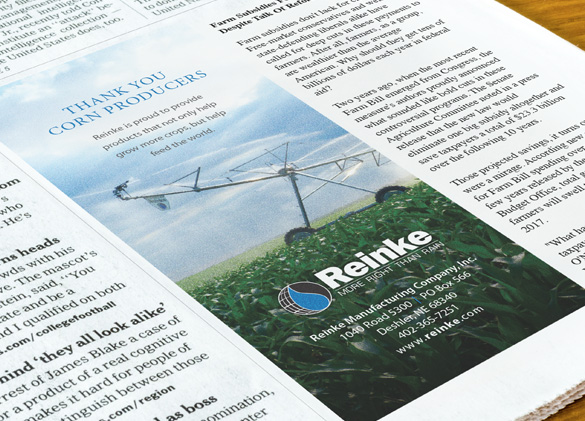Newspaper Ad Design for Reinke Irrigation Company